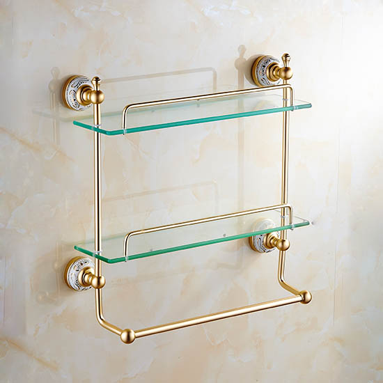 dual bathoom shelves